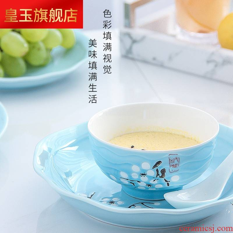 Five hj dishes suit household contracted four Japanese people eat bread and butter plate combination of jingdezhen porcelain ipads ceramics tableware