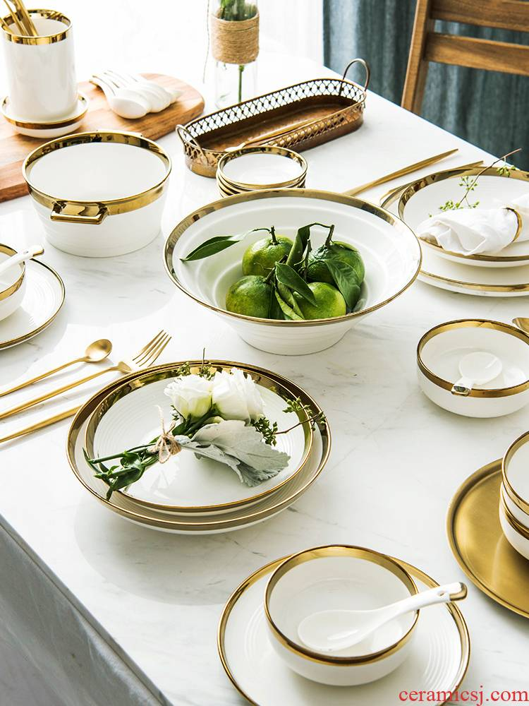 Ijarl up phnom penh dish suits for the home web celebrity ins European - style gifts tableware light key-2 luxury high - grade gold plate of northern wind