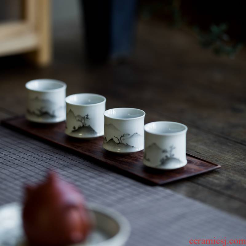 Vegetation school hand - made teacup single CPU ceramic cup sample tea cup master cup kung fu tea set small cups
