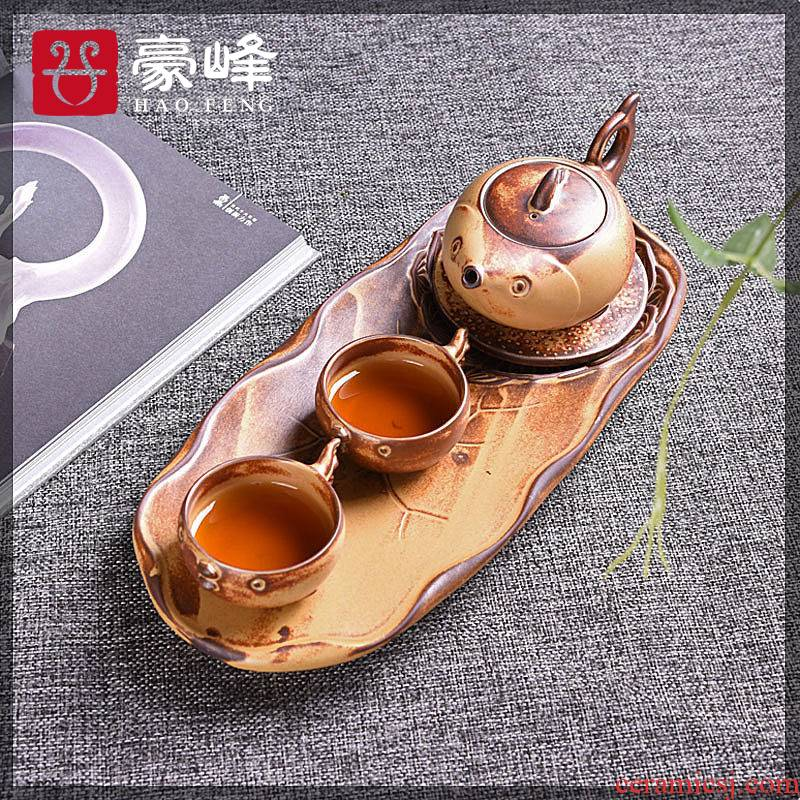 HaoFeng contracted a pot of two cups of Japanese dry tea tray household ceramics kung fu tea set gift boxes teapot