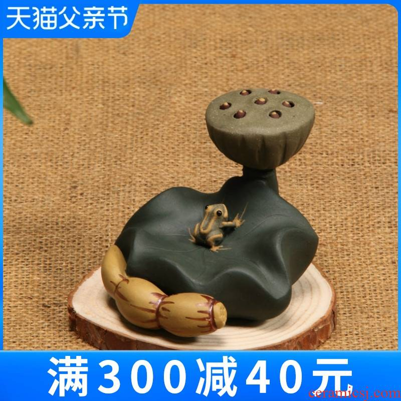 Yixing purple sand tea pet frog manual creative play tea accessories teapot kung fu tea tea tea tray was furnishing articles