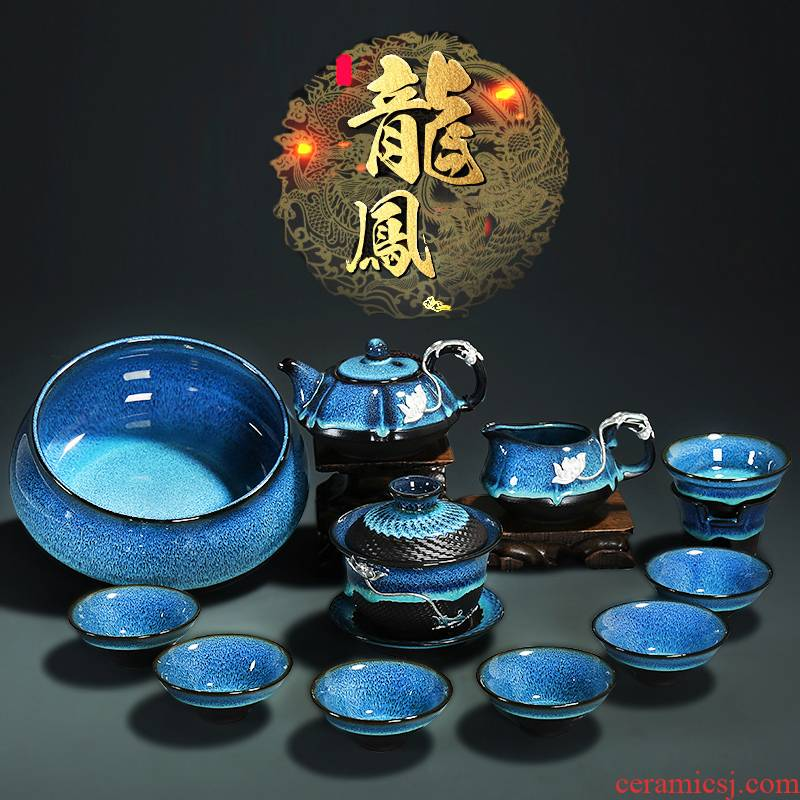 Build light tea set household kung fu coppering. As silver teapot ceramic cups teapot GaiWanCha dish of tea accessories