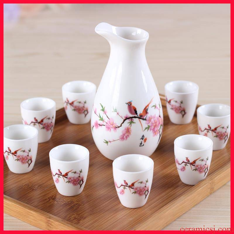 Small peach wine goblets mei Japanese cherry blossom put name plum fruit wine glass ceramic Chinese wind restoring ancient ways is a Small light wine
