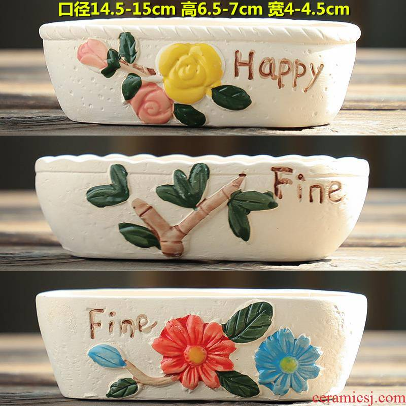 The Fleshy flowerpot ceramic special offer a clearance of large diameter coarse pottery breathable absorbent meat meat platter combination flower pot the plants
