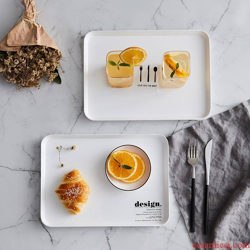 Square plate tray bread water Nordic Europe type to the as tea tray Philippine plate amine household plastic cup dish water plate