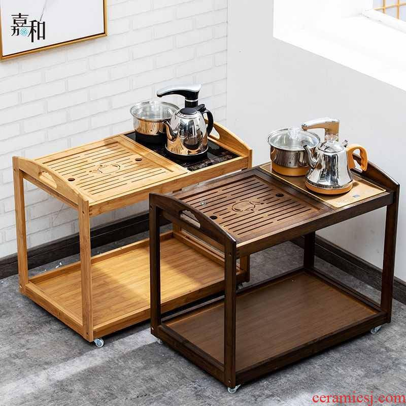 Tea car small mobile bamboo Tea table of sofa side sitting room ark, small Tea Tea table home Tea tray was one Tea table