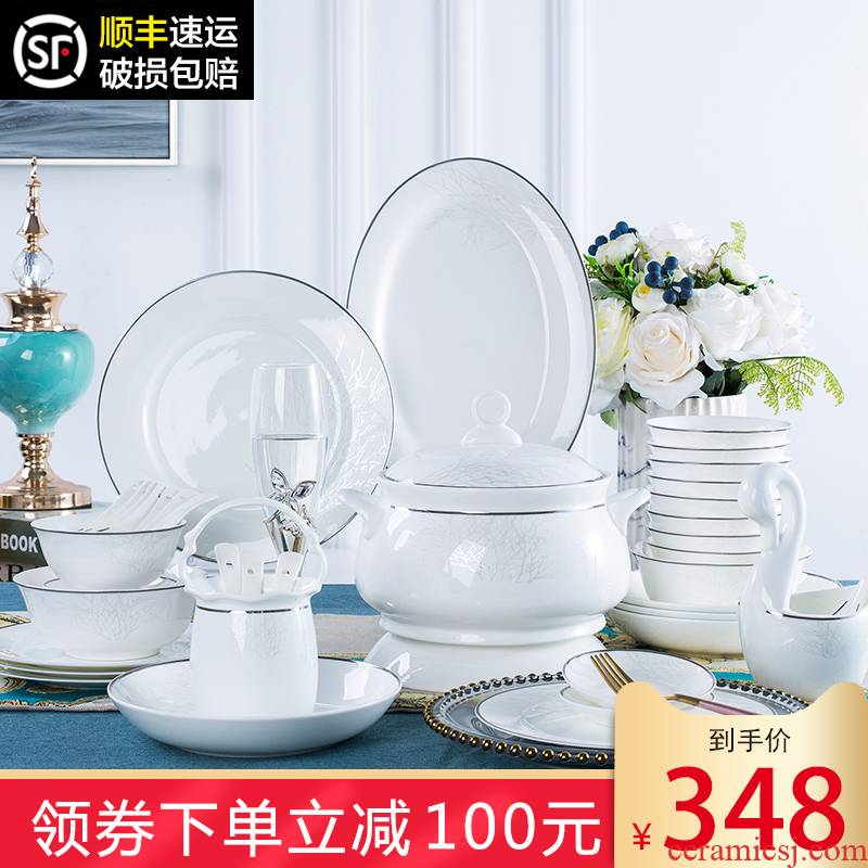 Dishes suit household jingdezhen European ceramic tableware to use ipads porcelain plate sets Dishes gifts