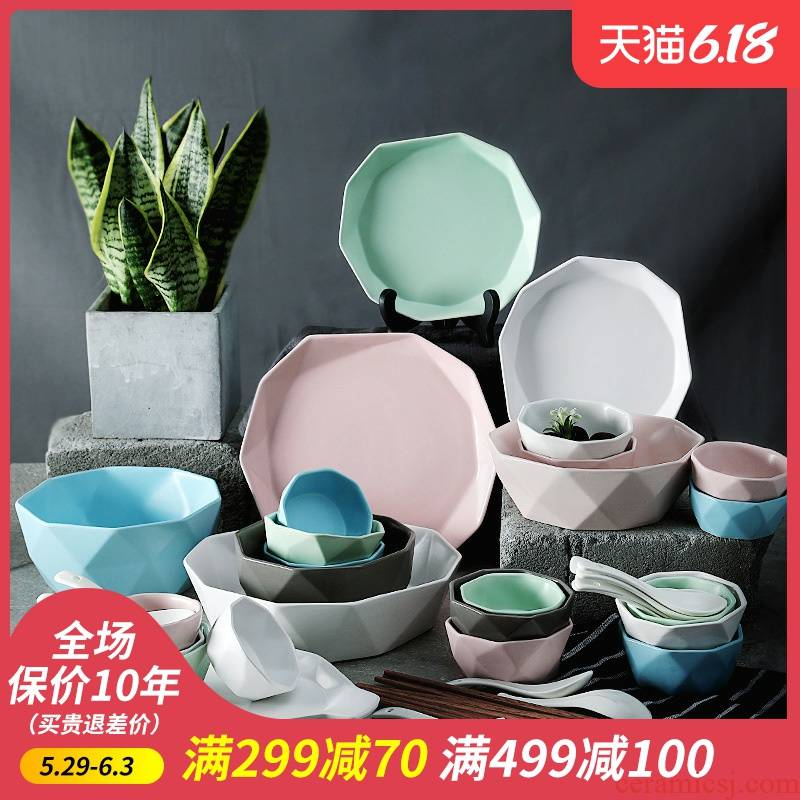 Ijarl m letters fine ceramic tableware suit creative dishes simple dishes suit household portfolio wedding gifts