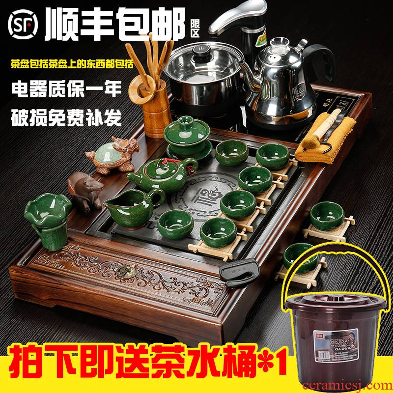 Sea make automatic electrical household solid wood tea tray of a complete set of violet arenaceous kung fu tea set suit to ultimately responds the teapot tea cups