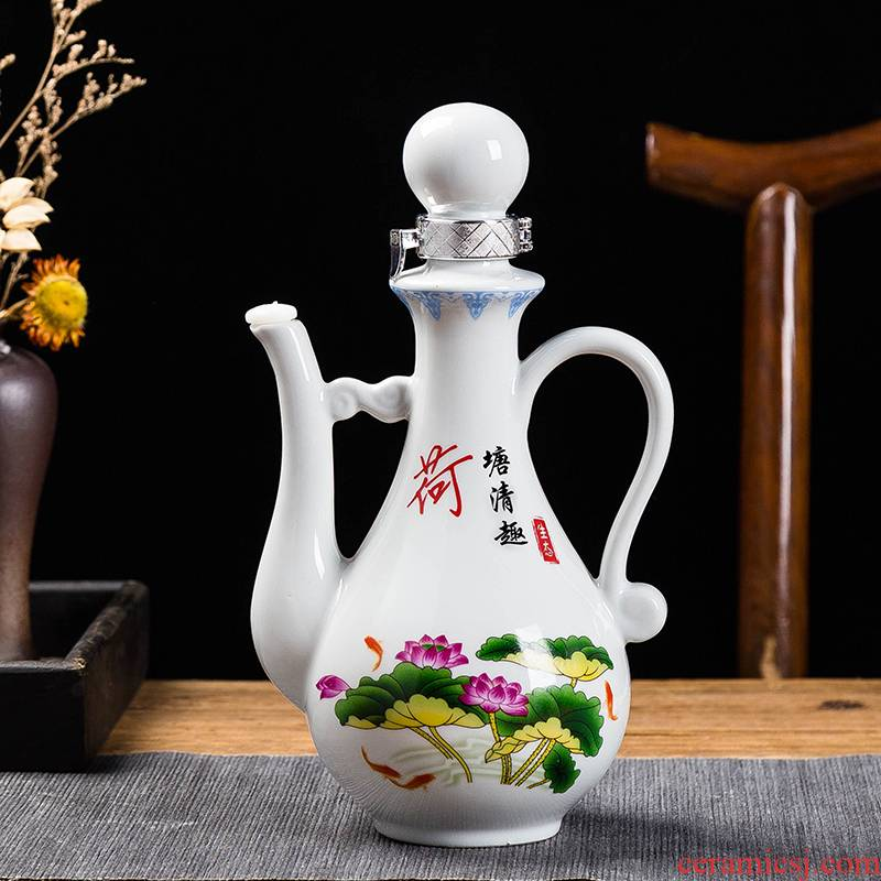 Jingdezhen liquor bottle seal household bottle porcelain flask of single pot of Chinese style gifts wine suit 1 catty
