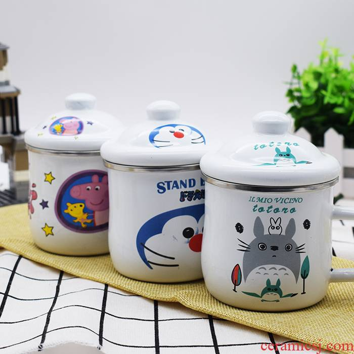 Enamel cup to hold drop fell upset with cover cup men 's and women' s kindergarten children cartoon keller cup package mail