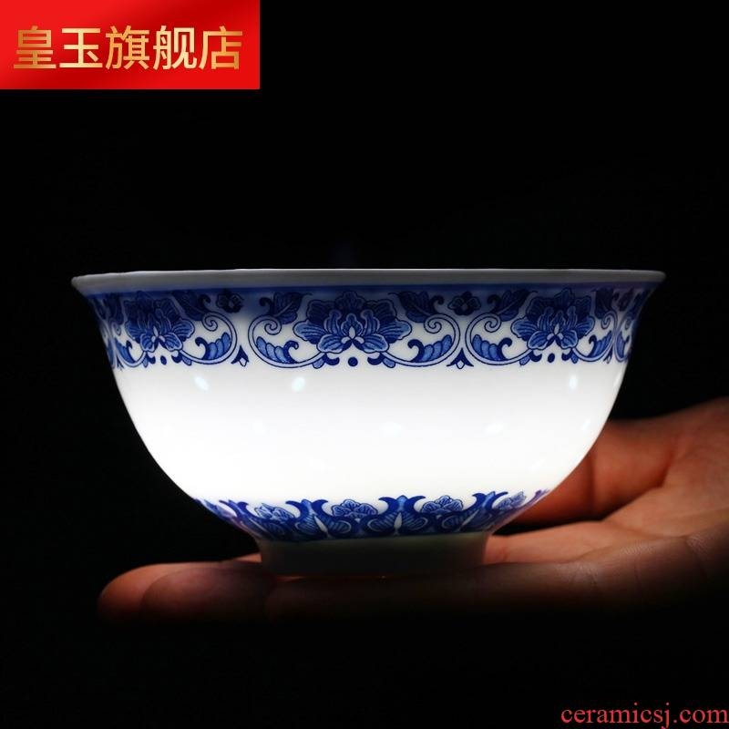 Blue and white and exquisite tableware suit under the ceramic glaze color 34 head dishes suit household jingdezhen plate chopsticks restoring ancient ways