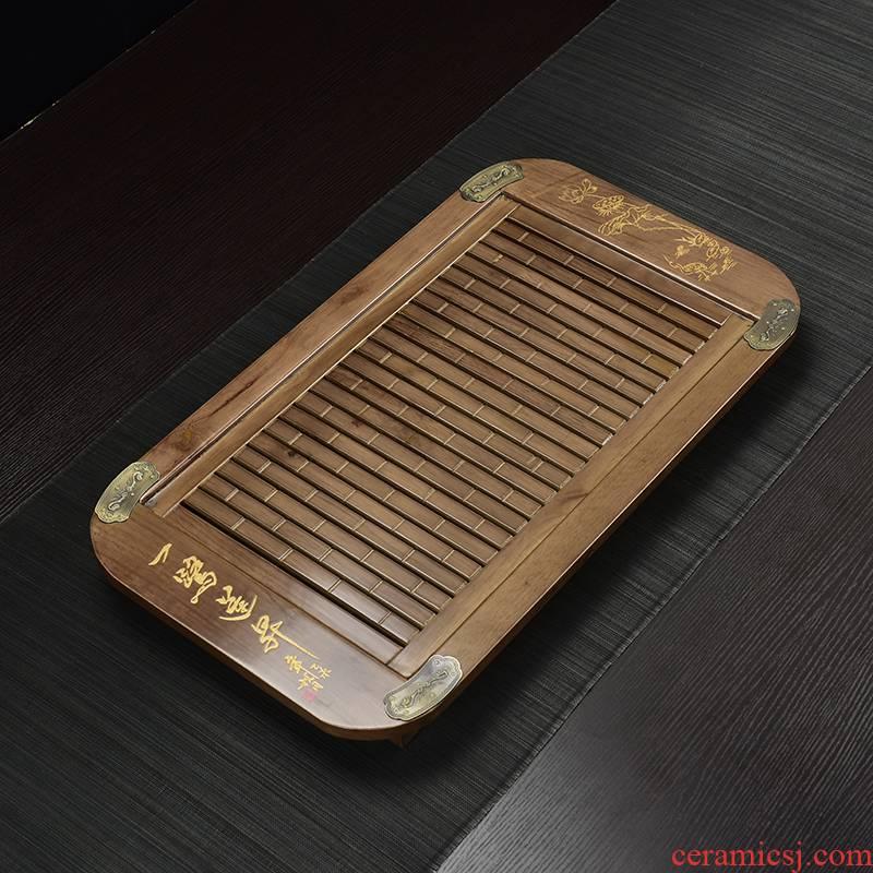 Solid wood home ground ke wooden kung fu tea tea sea drainage type drawer storage type tea tray size