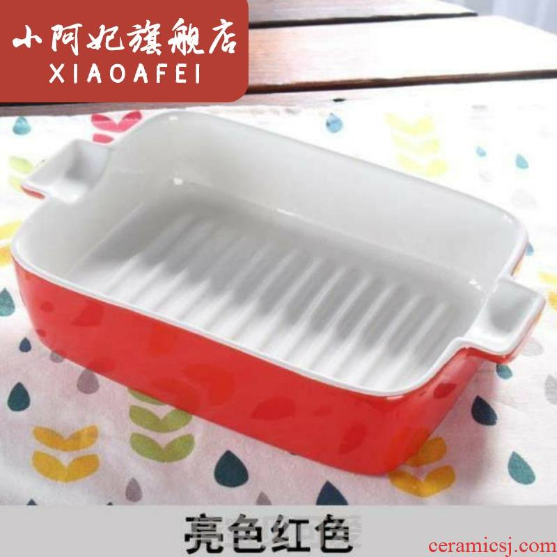 Dessert fruit bowl dishes microwave ceramic ears tableware rectangular baking oven rice bowl dish plate of a large breakfast