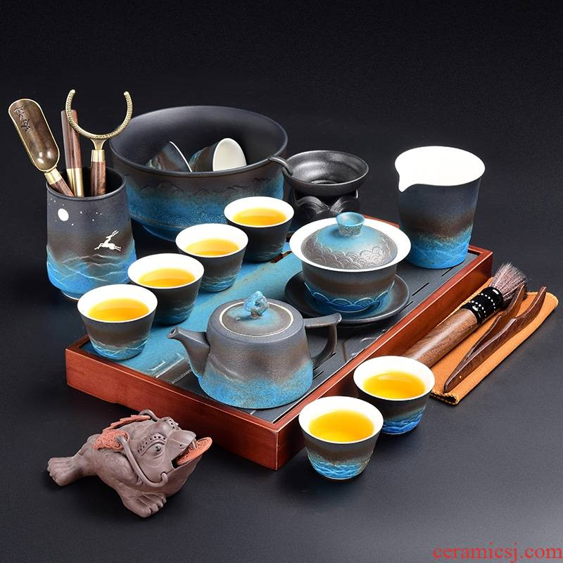 Hk xin rui Japanese zen made pottery tea suit household kung fu tea tea tray of a complete set of reservoir type dry terms plate