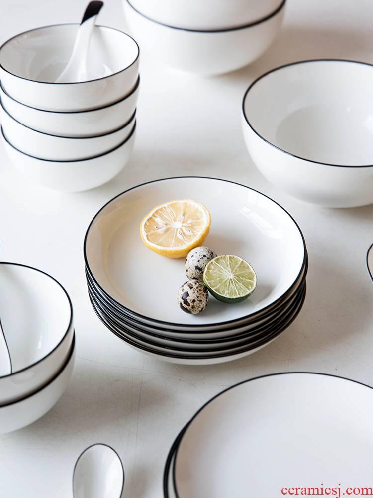 Modern European creative housewife black ceramic tableware ins dish dish dish dish food dish bowl of soup plate