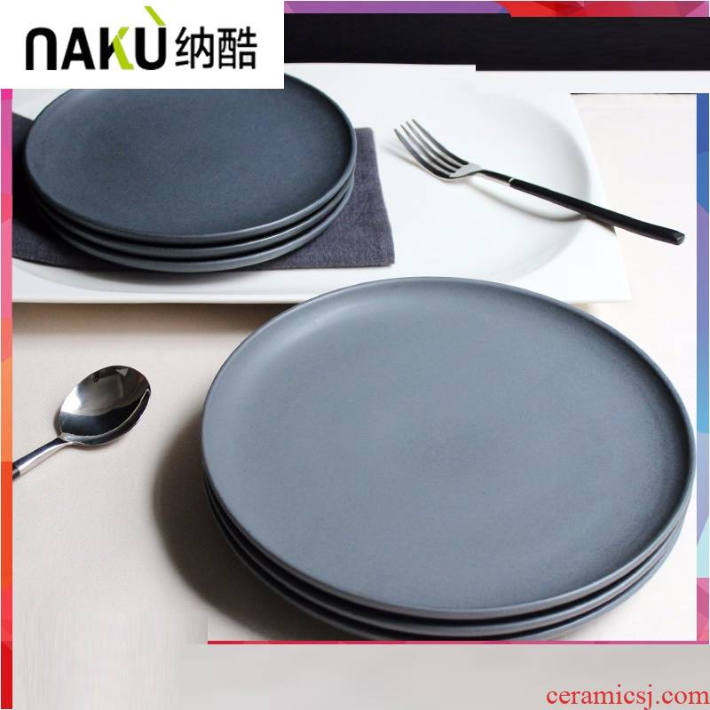 Ceramic dinner plate, a cool dessert plate of the Nordic steak dish between example dish restaurant ins matte enrolled, black