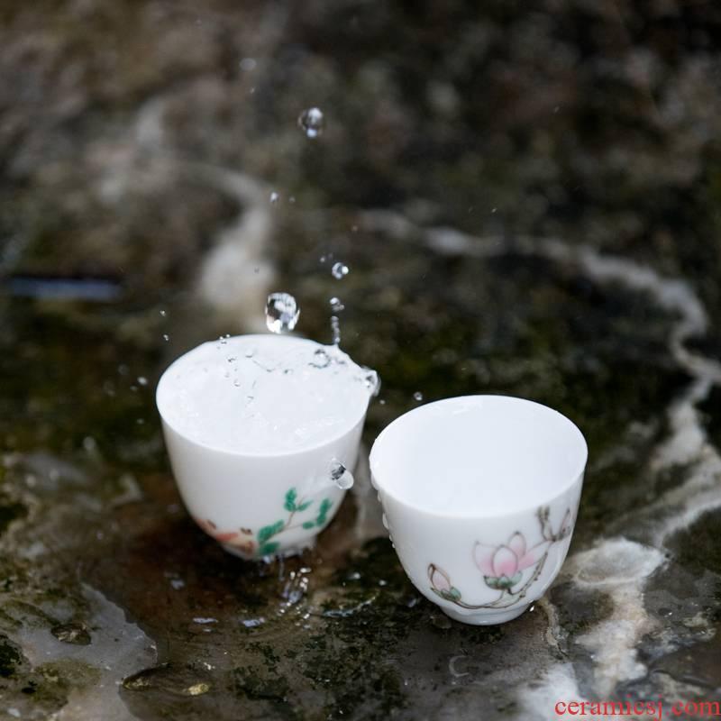 Vegetation school ceramics painting sample tea cup white porcelain single CPU master cup painting kung fu noggin taste a cup of tea accessories