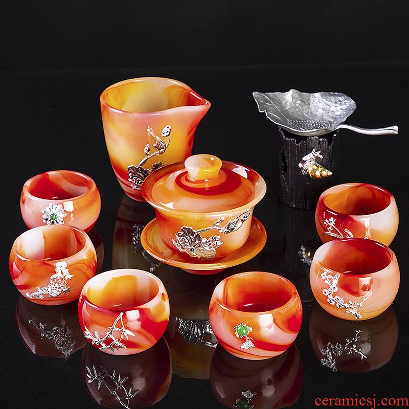 Coloured glaze kung fu tea set tea home office to receive a visitor tea jade porcelain glass cup with high - end gift box
