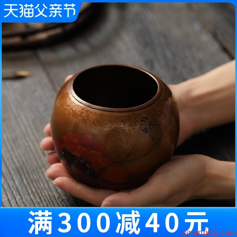 """Treasure hall built water pure copper silver kung fu tea by hand wash water jar flow dross barrels of household water bucket of tea set spare parts"