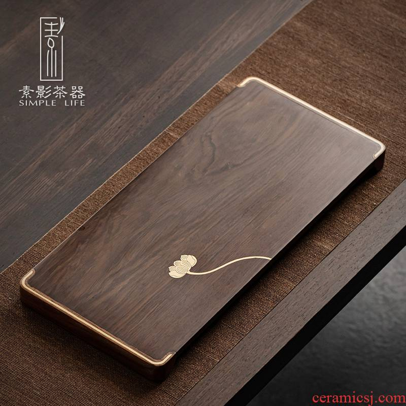 Plain film, the whole piece of solid wood tea tray ebony inlaid copper small tea table teahouse dry plate of Japanese contracted tray bearing pot