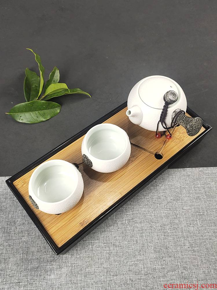 The Crack of a pot of 2 cup two cups of modern household small tea tray was suit the teapot tea sea ceramic simple kung fu tea set