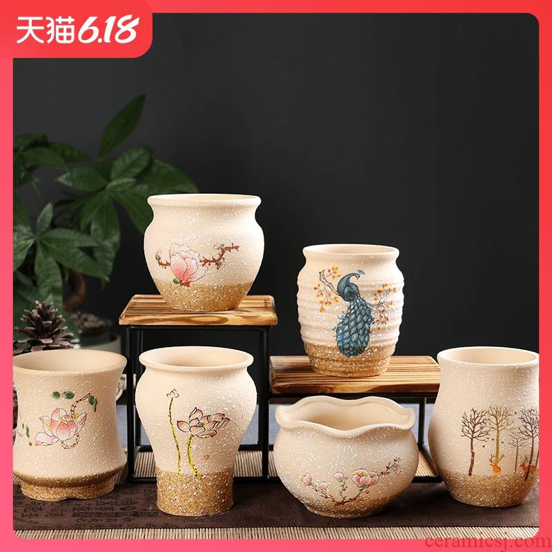 Korean meat more coarse pottery flowerpot creative ceramics breathable desktop classic lovely contracted snowflakes glaze with 10 yuan package mail