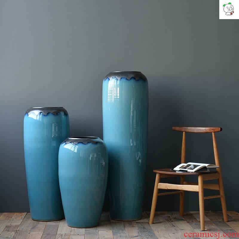 Ceramic light of large vase key-2 luxury furnishing articles dried flower arranging flowers home decoration blue glaze, the sitting room porch European - style decoration