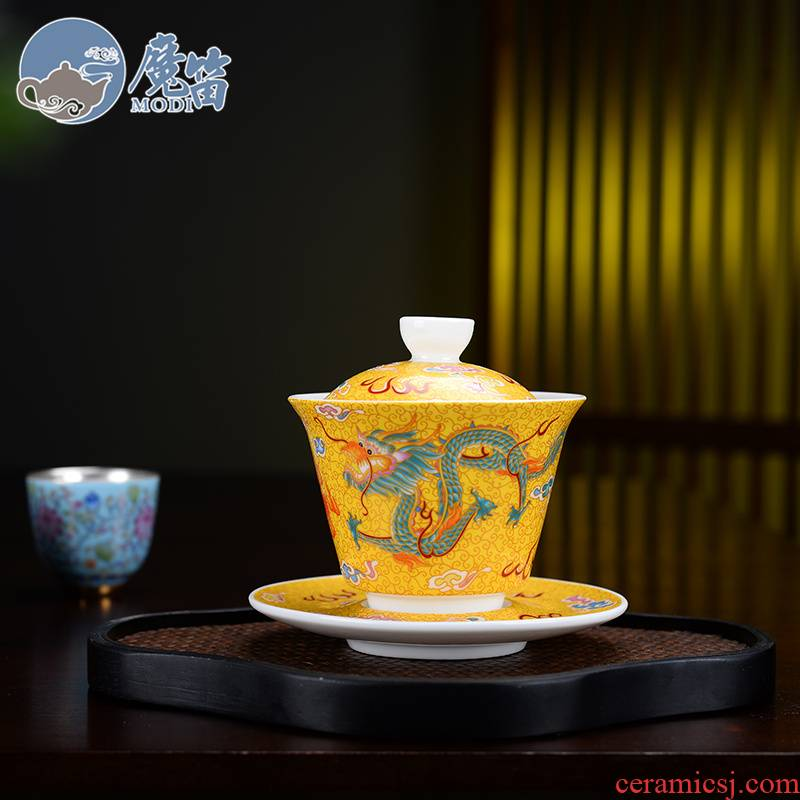 The flute colored enamel only three tureen kung fu tea cups to use large single hand made tea ware jingdezhen