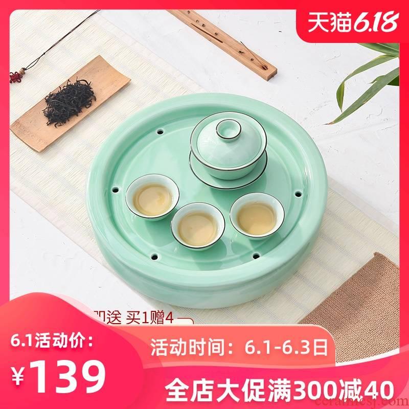 Celadon kung fu tea set ceramic round small tea tray pallet household water impoundment round tea tea tea sets tea sea ship