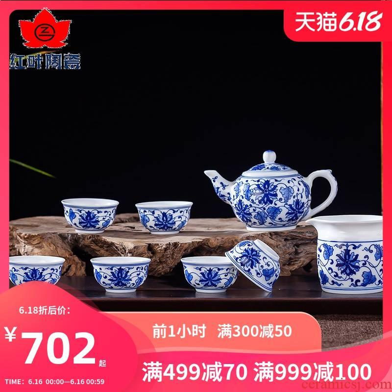 Red leaves 8 head kung fu hand - made ceramic tea sets jingdezhen porcelain teacup area have a gift