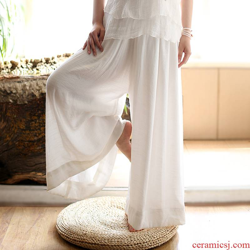 The Spring windy day China silk cotton and linen wide - legged pants female trousers loose zen tea art leisure yoga, tai chi restoring ancient ways