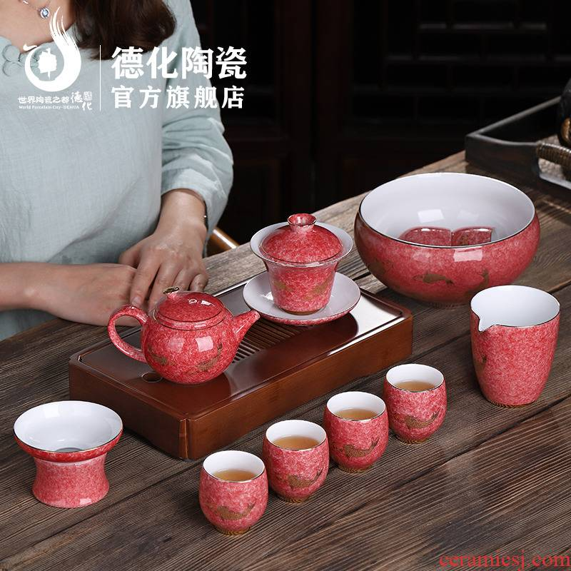 Ceramic kung fu tea set home office lounge of a complete set of tea cups tureen tea simple gift boxes