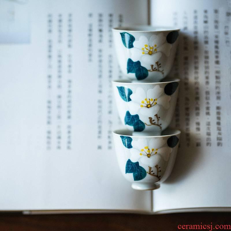 Vegetation school ceramics hand - made teacup archaize your up manual sample tea cup kung fu tea tea bowl, small cup
