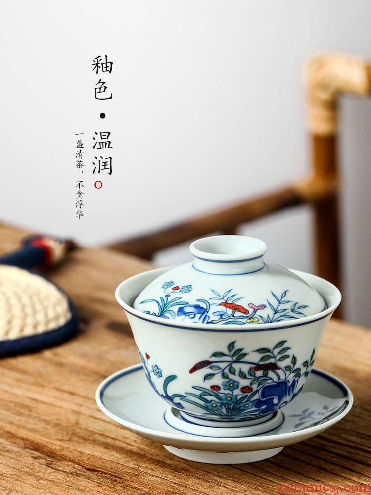 Jingdezhen only three tureen teacups hand - made porcelain colorful bowl with cover is not large single ceramic tea set