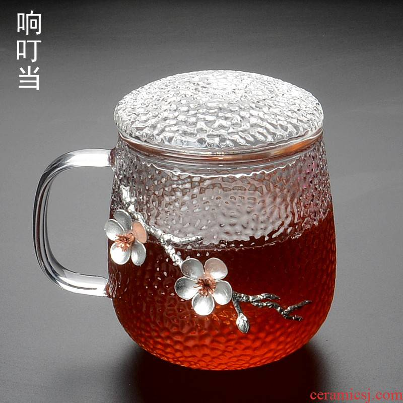 Hammer the glass tea tea separation subband office getting the glass cup home tropical cover the name plum blossom put