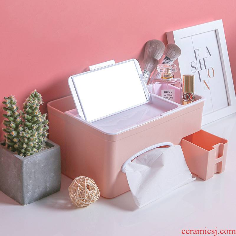Send an abundant multi - function tissue boxes sitting room tea table paper extraction receive a case creative household contracted household Nordic remote control