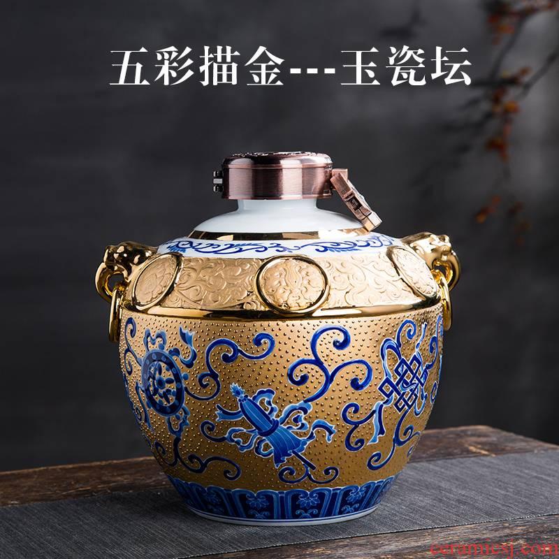 Wine jars 5 jins of jingdezhen ceramic household seal put gifts 18 k an empty bottle anaglyph gold hip Wine utensils