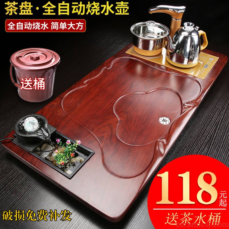 Office tea table home water solid wood tea tray sets electric magnetic furnace automatic pallet contracted sitting room