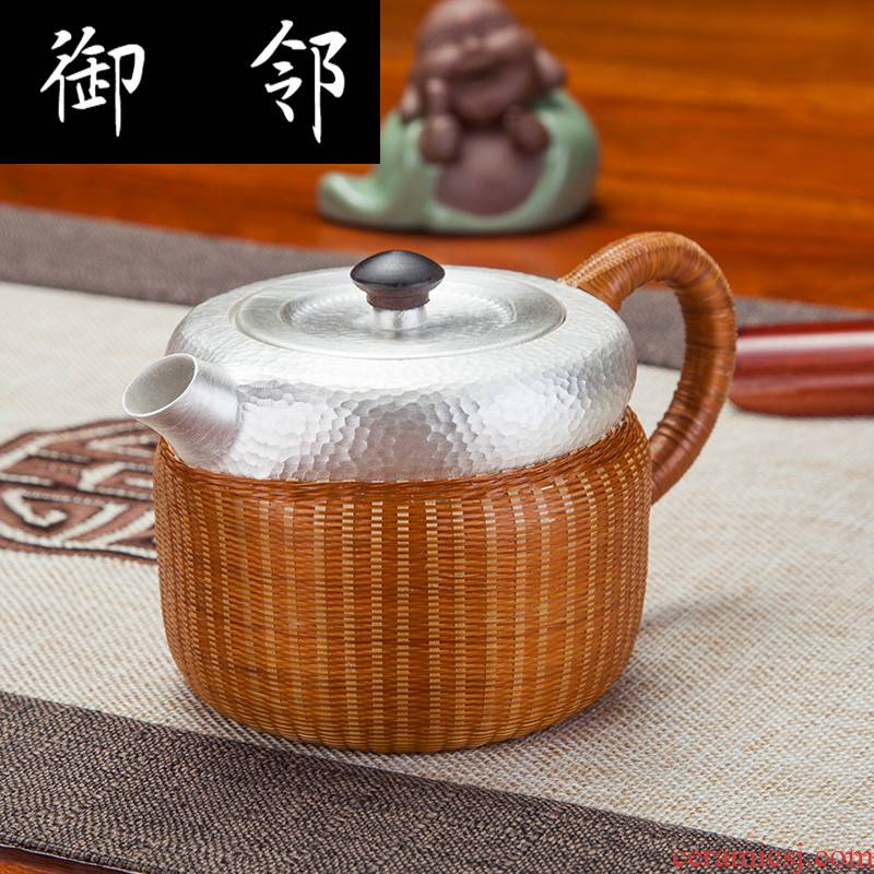 Sterling silver bamboo has silver pot insulation mesh point grain fine silver 999 pure manual hand hammer large capacity domestic silver pot of tea