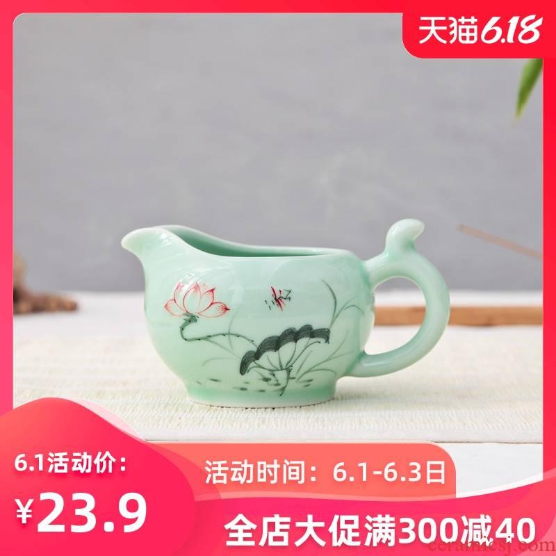 Celadon justice household kung fu tea accessories ceramic tea cup and pot teapot tea tea machine work, head points