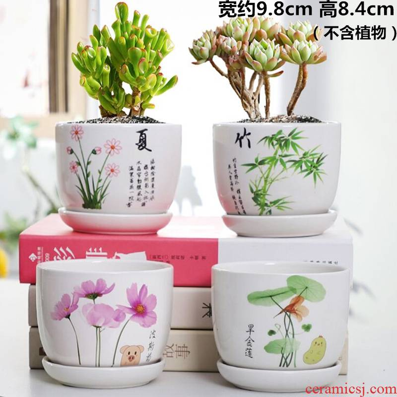 Flowerpot ceramic quaternity creative move a clearance sale household more than other meat with tray flower pot in wholesale
