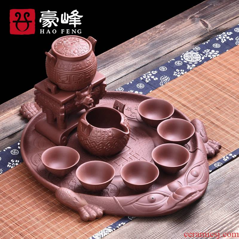 HaoFeng violet arenaceous spittor tea tray tea set suit household saucer tea tea sea drainage of a complete set of kung fu tea set