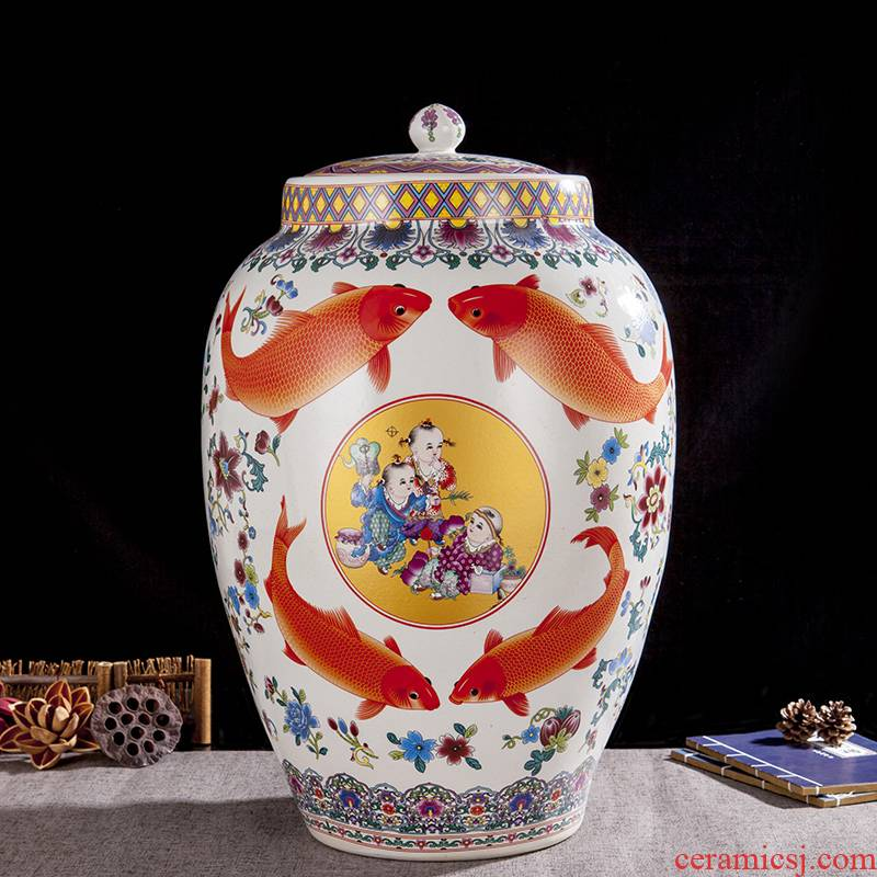 Jingdezhen ceramic barrel ricer box store meter box 20 jins 50 kg of the packed with cover seal storage tank with moistureproof insect - resistant
