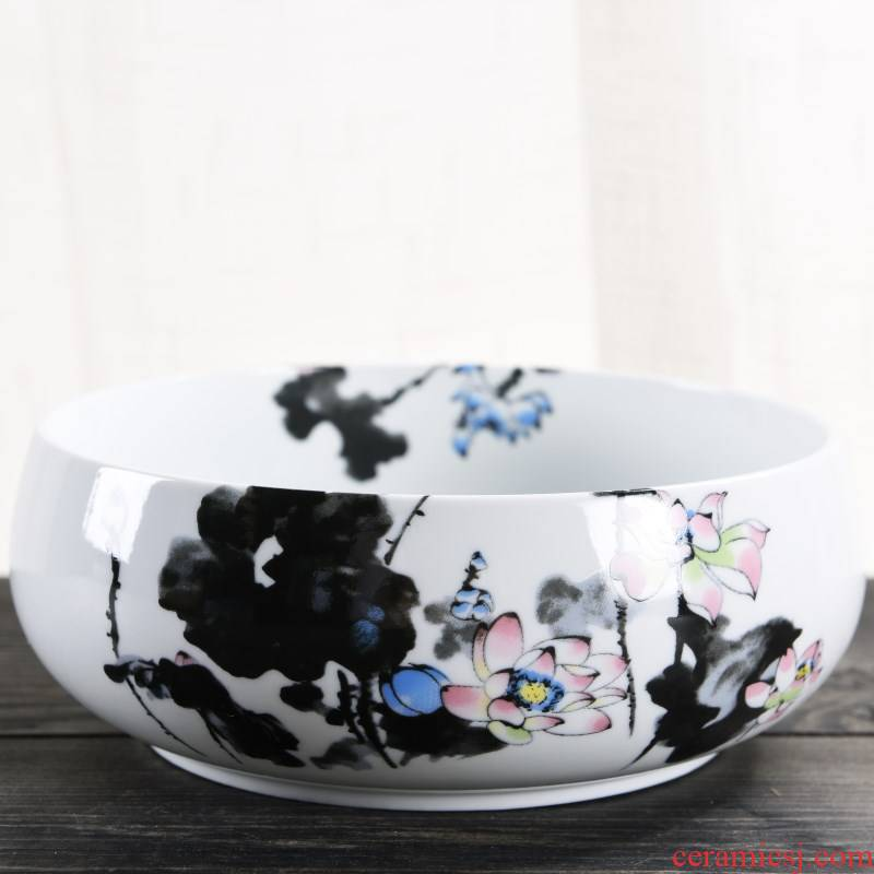 Refers to flower pot ceramic without hole water raise money grass grass copper bowl lotus leaf more than other meat large hydroponic basin