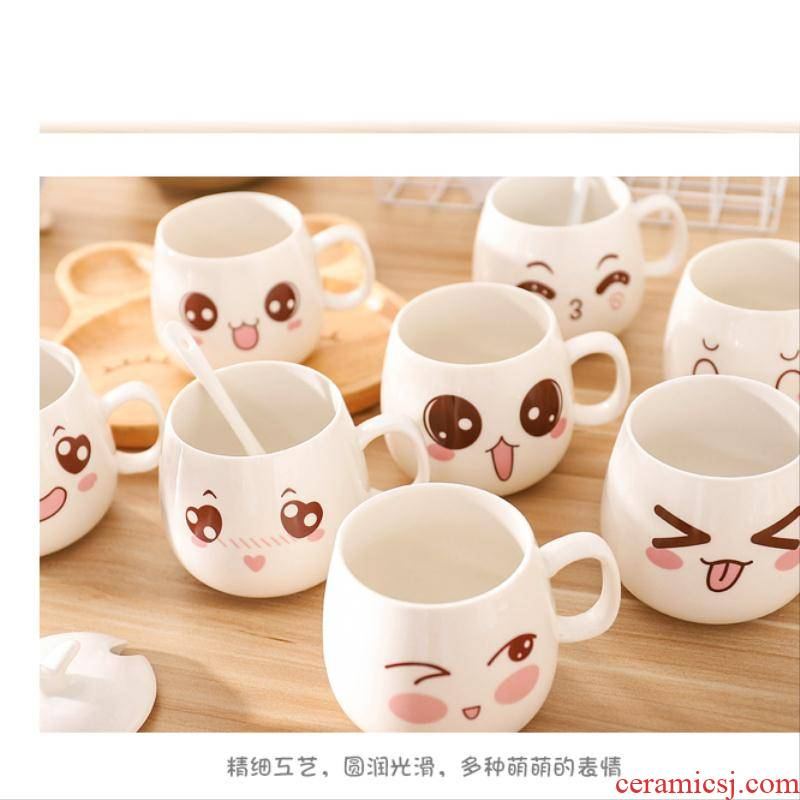 Creative ceramic cup milk men and women lovers household move trend mark of water glass coffee cup with a spoon