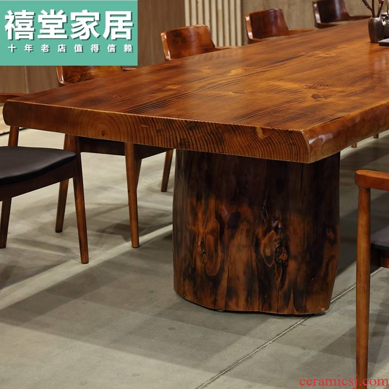 Combination of solid wood tea table and chairs from the stage desk log of new Chinese style tea tea table of contracted and I big board, tea table