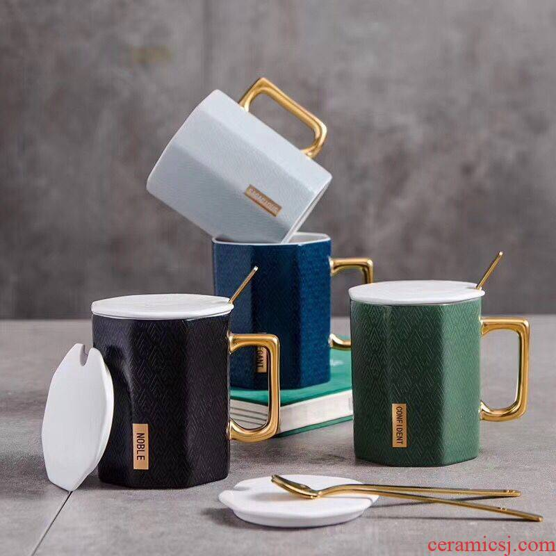 Royal of aureate handle creative ceramic mugs with cover teaspoons of fashionable man coffee cup office tea cup
