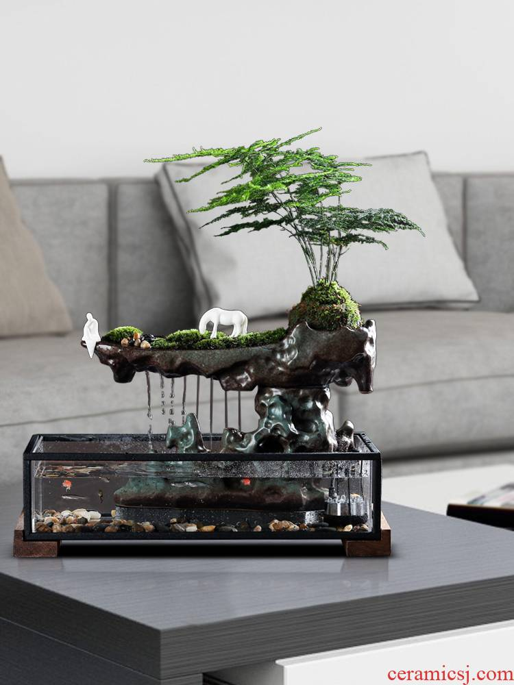 Chinese ceramic creative home furnishing articles sitting room office desktop water fountain aquarium opening gifts