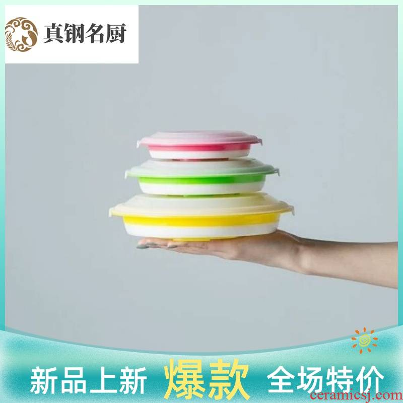 Large capacity three - piece silicone folding rainbow such as bowl bowl mercifully expansion bowl with cover preservation bowl of is suing tourism portable tableware